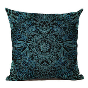 jaan-imports - Blue Black Mandala Pillow Cover - Khoobsurat Gift Shop - Pillow Cover