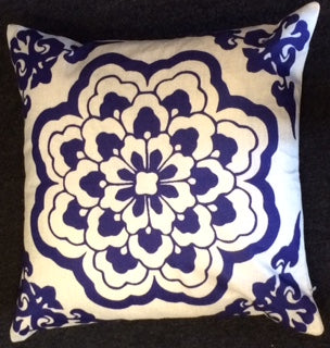 jaan-imports - Navy Blue Flower Cotton Pillow Cover - Khoobsurat Gift Shop - Pillow Cover