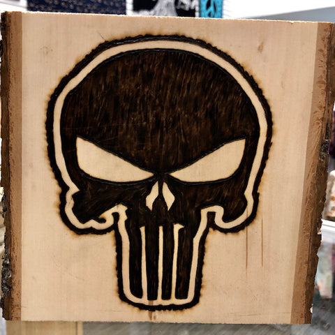 Handmade Pyrography Art- The Punisher
