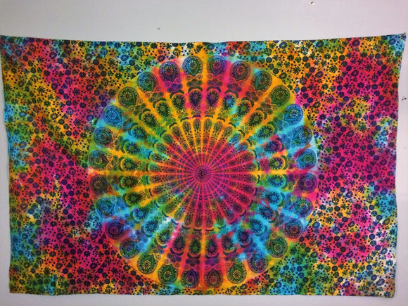 jaan-imports - Multi Color Peacock Mandala Twin Tapestry - Khoobsurat Gift Shop - Twin Tapestry