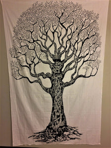 jaan-imports - Black and White Tree of Life Twin Tapestry - Khoobsurat Gift Shop - Twin Tapestry