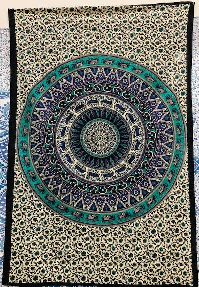 jaan-imports - Purple Green Mandala Twin Tapestry - Khoobsurat Gift Shop - Twin Tapestry