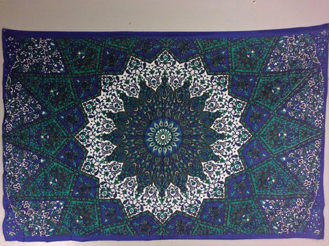 jaan-imports - Navy Aqua Color Mandala Twin Tapestry - Khoobsurat Gift Shop - Twin Tapestry