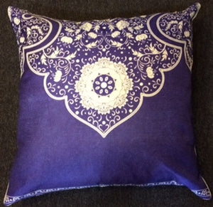 jaan-imports - Navy Blue Half Mandala Print Pillow Cover - Khoobsurat Gift Shop - Pillow Cover