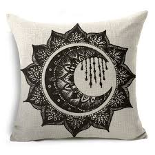 jaan-imports - Black and White Mandala Moon Pillow Cover - Khoobsurat Gift Shop - Pillow Cover