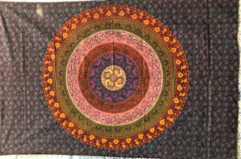 jaan-imports - Colorful Mandala with Yellow Flowers Twin Tapestry - Khoobsurat Gift Shop - Twin Tapestry
