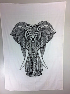 jaan-imports - Black and White Elephant Tapestry - Khoobsurat Gift Shop - Twin Tapestry