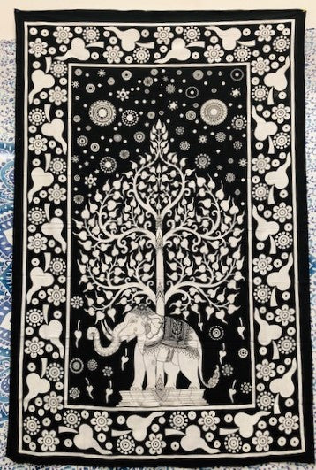 jaan-imports - Black and White Elephant Tree of Life Twin Tapestry - Khoobsurat Gift Shop - Twin Tapestry