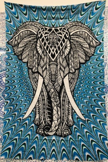 jaan-imports - Elephant Blue Color Twin Tapestry - Khoobsurat Gift Shop - Twin Tapestry