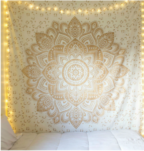 jaan-imports - Gold Flower Mandala Twin Tapestry - Khoobsurat Gift Shop - Twin Tapestry