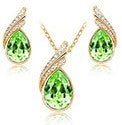 jaan-imports - Green Teardrop Earring and Necklace Jewelry Set - Khoobsurat Gift Shop - Jewelry Set