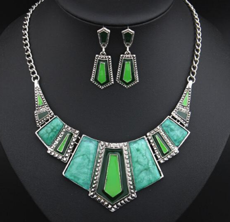 jaan-imports - Geometric Necklace and Earrings Jewelry Set (2 Colors) - Khoobsurat Gift Shop - Jewelry Set