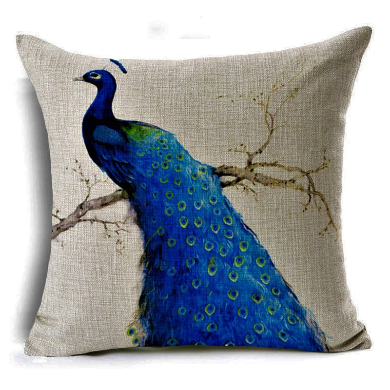 jaan-imports - Royal Blue Peacock Facing Left Pillow Cover - Khoobsurat Gift Shop - Pillow Cover