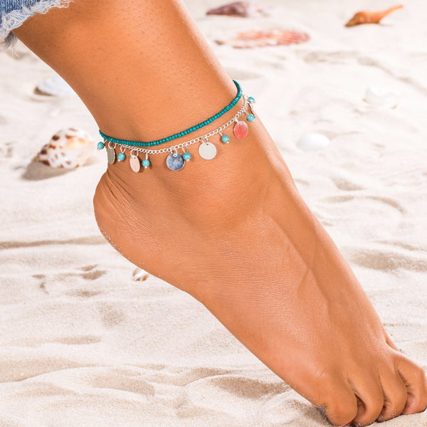 jaan-imports - Beaded Coin Silver Double Anklet - Khoobsurat Gift Shop - Anklet