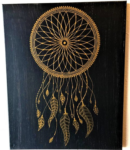 jaan-imports - Handmade Henna Inspired Art- Henna Inspired Gold Color Dream Catcher - Khoobsurat Gift Shop - Henna Art