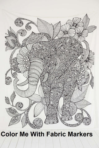 jaan-imports - Black and White Elephant Twin Tapestry - Khoobsurat Gift Shop - Twin Tapestry