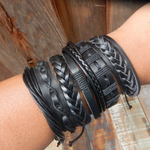 jaan-imports - Black Leather Bracelets - Khoobsurat Gift Shop - Bracelet