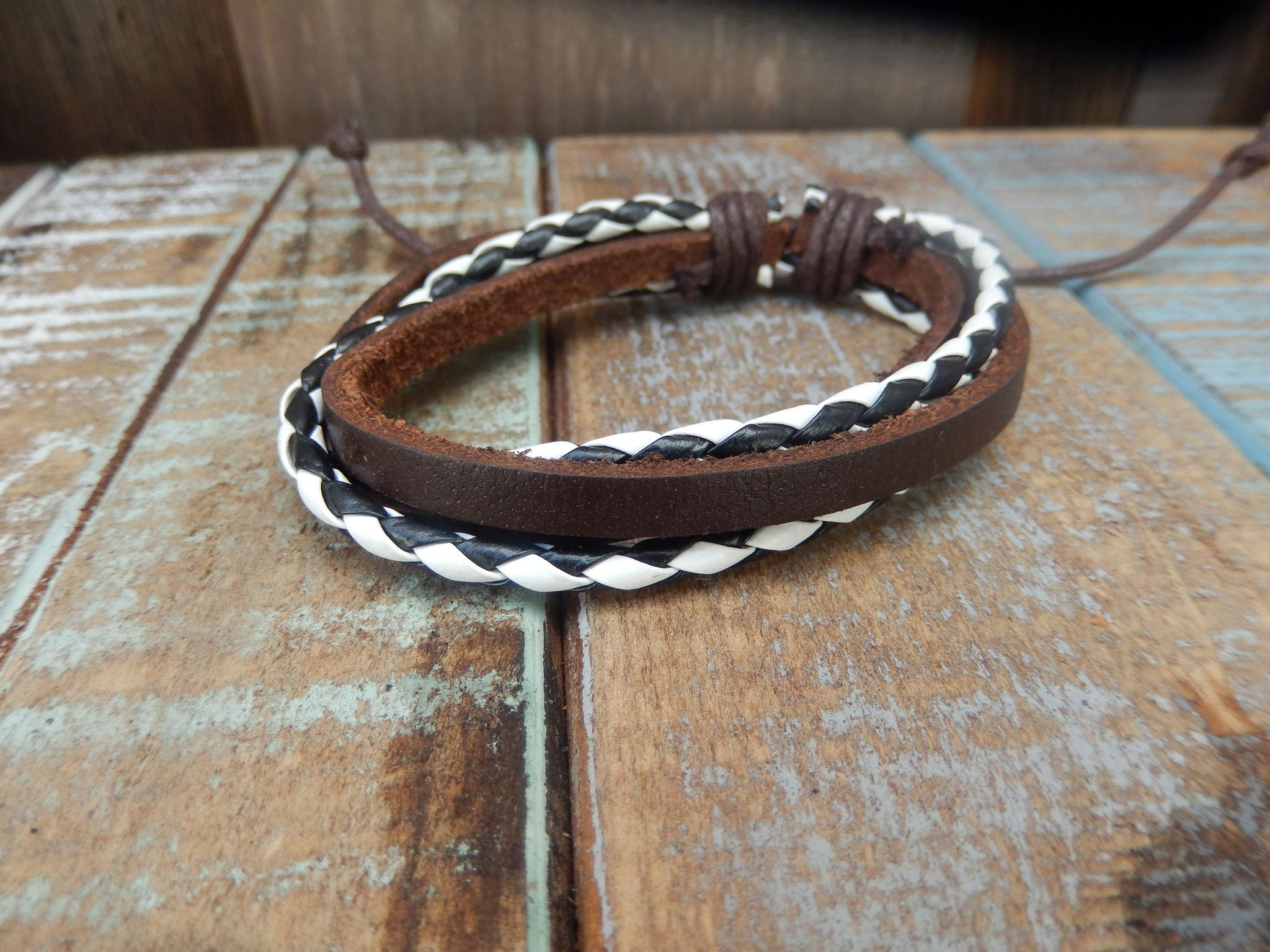 jaan-imports - Black/White and Brown/White Leather Bracelets - Khoobsurat Gift Shop - Bracelet