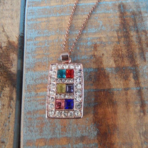jaan-imports - Elegant Multi Color Rhinestone Necklace - Khoobsurat Gift Shop - Necklace