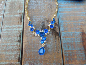 jaan-imports - Blue and Gold Rhinestone Elegant Necklace - Khoobsurat Gift Shop - Necklace