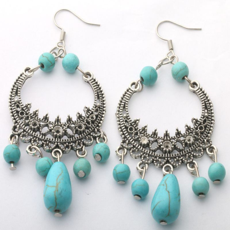 jaan-imports - Turquoise Bead Hoop Earrings - Khoobsurat Gift Shop - Earrings