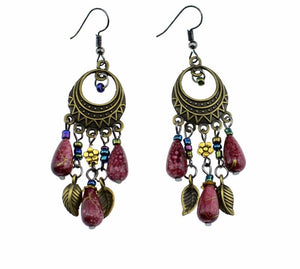 jaan-imports - Maroon Beaded Leaf Chandelier Earrings - Khoobsurat Gift Shop - Earrings