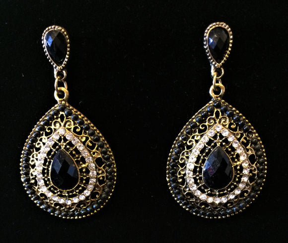 jaan-imports - Black Teardrop Earrings - Khoobsurat Gift Shop - Earrings