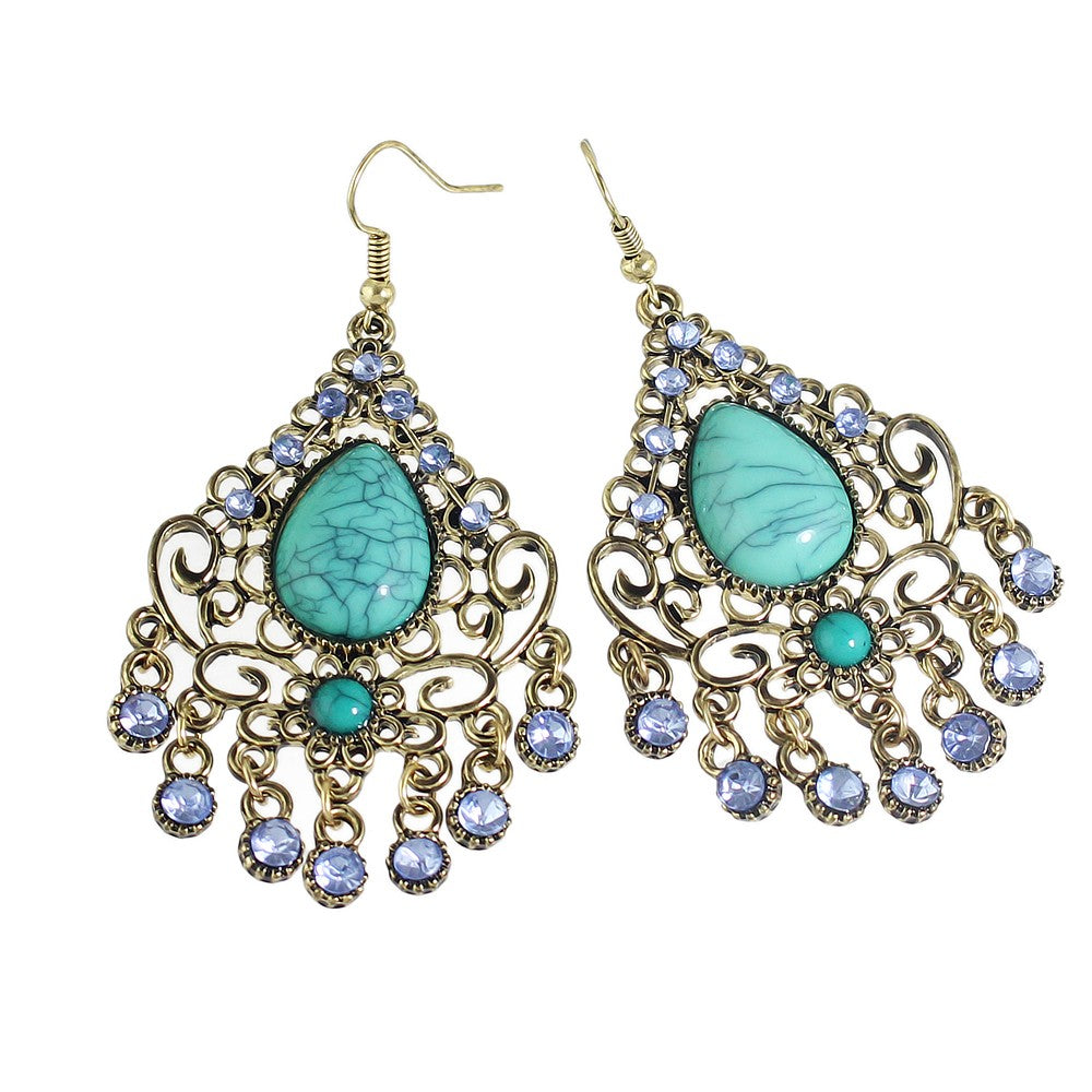 jaan-imports - Turquoise Chandelier Earrings - Khoobsurat Gift Shop - Earrings