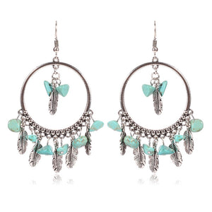 jaan-imports - Stone and Feathers Dangle Round Boho Earrings - Khoobsurat Gift Shop - Earrings