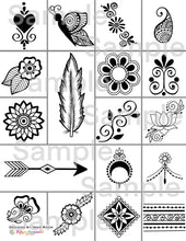 Load image into Gallery viewer, A Little Bit of This & That Henna Designs Ebook Simple Quick Mehndi Tattoo Patterns for Beginners or Professionals High Quality Digital Art