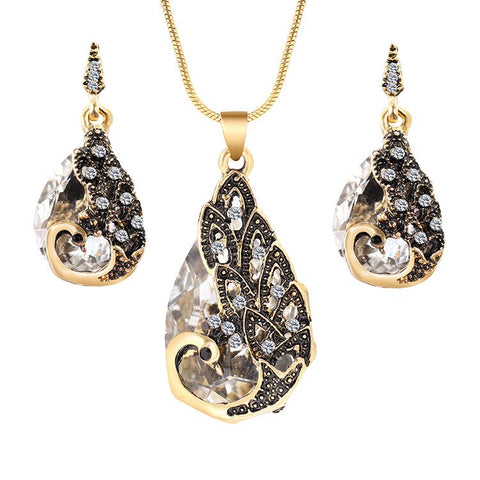 jaan-imports - Peacock Teardrop Necklace Earrings Set (4 Colors) - Khoobsurat Gift Shop - Jewelry Set