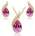 jaan-imports - Pink and Gold Tear Drop Earring and Necklace Jewelry Set - Khoobsurat Gift Shop - Jewelry Set