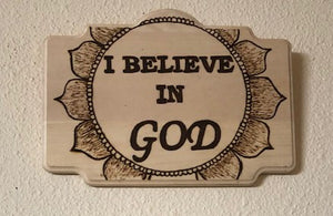 "jaan-imports - Handmade Pyrography Art- ""I Believe"" Collection Quotes - Khoobsurat Gift Shop - Pyro Art"