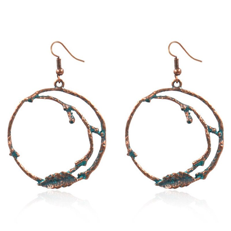 jaan-imports - Tree Branches Leaf Round Metal Hoop Earrings (3 Colors) - Khoobsurat Gift Shop - Earrings