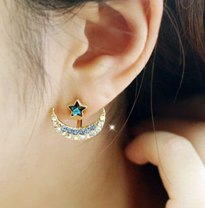 jaan-imports - Moon and Star Stud Earrings (3 Colors) - Khoobsurat Gift Shop - Earrings