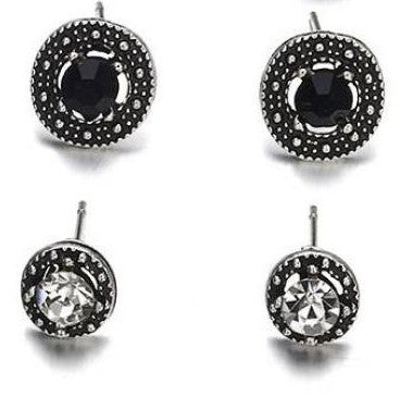 jaan-imports - Set of 2 Cute Stud Rhinestone Black Earrings - Khoobsurat Gift Shop - Earrings
