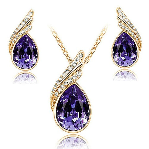 jaan-imports - Purple Tear Drop Earring and Necklace Jewelry Set 4 - Khoobsurat Gift Shop - Jewelry Set