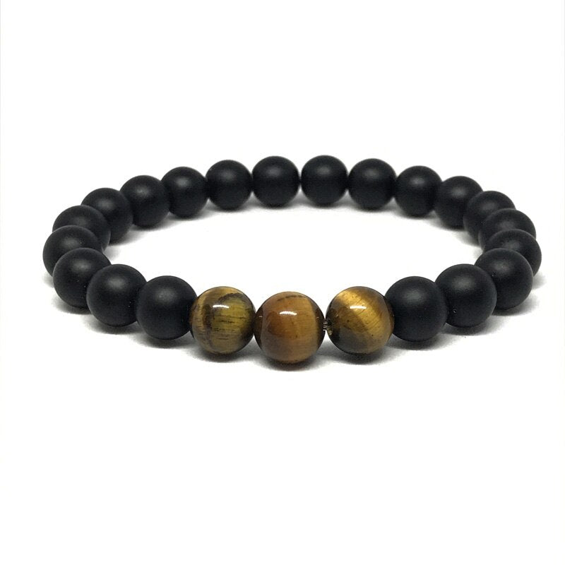 jaan-imports - Black and Tigers Eye Natural Stone Beaded Bracelet - Khoobsurat Gift Shop - Bracelet