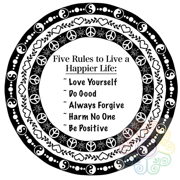Five Rules to Live a Happier Life Mandala Digital Art Download File PNG