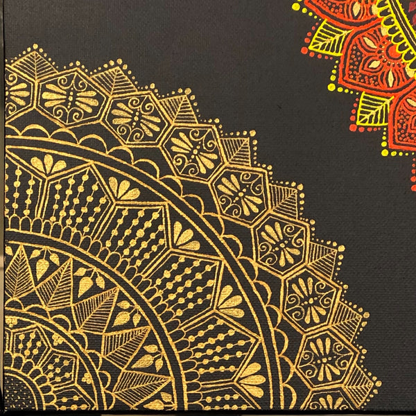 jaan-imports - Seasons/Gold and Silver Mandala Handmade Henna Inspired Art - Khoobsurat Gift Shop - Henna Art