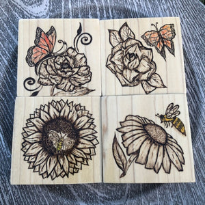 Set of 4 Wooden Coasters | Flowers Bees Butterflies Design | Wood Burning Pyrography Art |Table Decor |Centerpiece | Customization Available