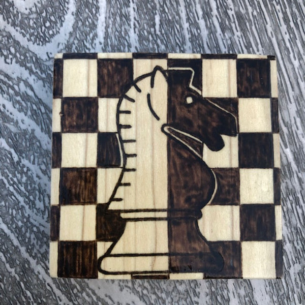 Set of 6 Wooden Coasters | Chess Pieces Board Design | Wood Burning Pyrography Art |Table Decor |Centerpiece | Customization Available