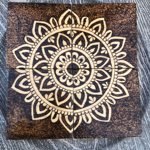 Set of 4 Wooden Coasters | Mandala Design | Wood Burning Pyrography Art | Handmade | Table Decor | Centerpiece | Customization Available