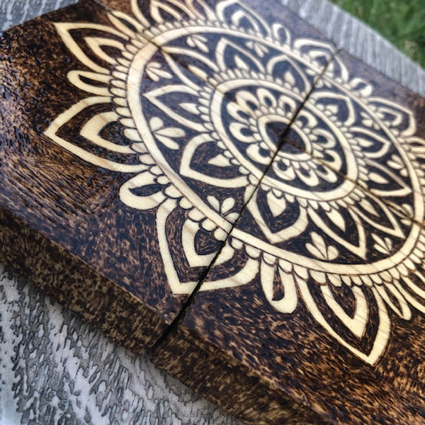 Custom Wooden Coasters Singles, Set of 2 4, 6, 8 or 10 | Wood Burning Pyrography Art | Handmade | Table Decor | Centerpiece