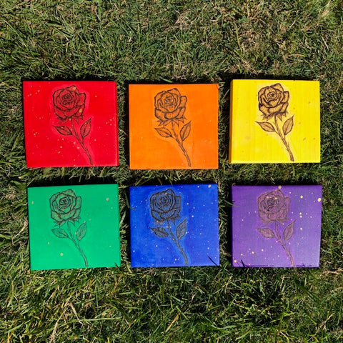 Rainbow Roses - Set of 6 or Individuals