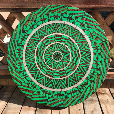 Lazy Susan Geometric Mandala with Green and Silver Acrylic Paints