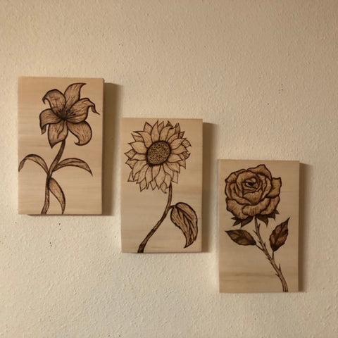 Set of Three - Rose, Sunflower and Stargazer Lilly