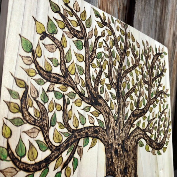 jaan-imports - Tree of Life with Elephant Colorful Handmade Pyrography (Wood Burning) Art Home Decor Gift Wall Art - Khoobsurat Gift Shop - Pyro Art