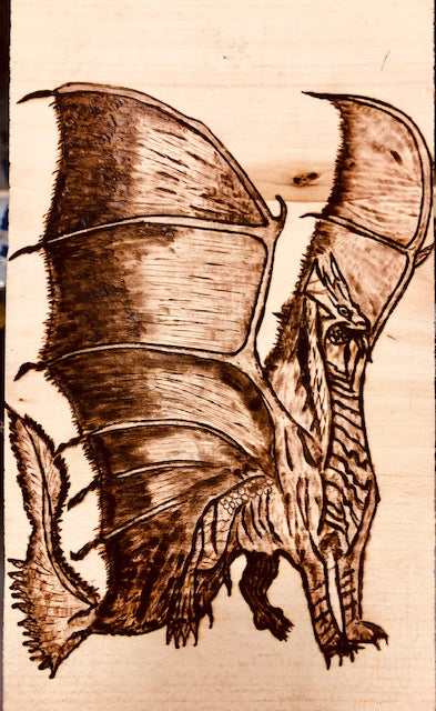 jaan-imports - Handmade Dragon Pyrography (Wood Burning) Art - Khoobsurat Gift Shop - Pyro Art