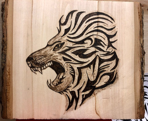 Handmade Pyrography Art- Lion/Tiger/Wolf